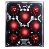 Christmas Ornaments - Glass - Red Glitter - Pack of 8