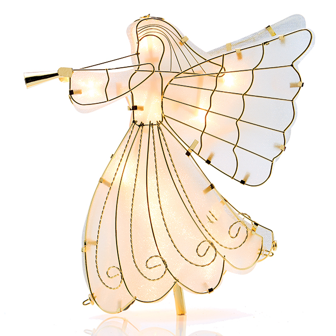 Holiday Living Illuminated Angel Tree Topper - Metal - 9.4-in x 13.25-in - Gold
