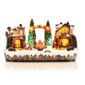 Animated and Musical Scene for Christmas Village - Polyresin
