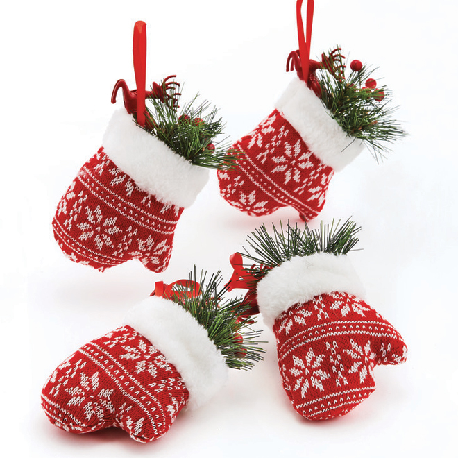 "Mitten Ornaments - 4.2"" x 6.5"" - Fabric - White/Red - 4-Pack"