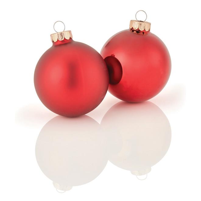 """Tree Ornaments - 2.6"""" x 3.5"""" - Glass - Dark Red - 8-Pack"""