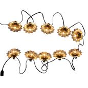 Style Selection 10-Lights String - Flowers - Galvanized