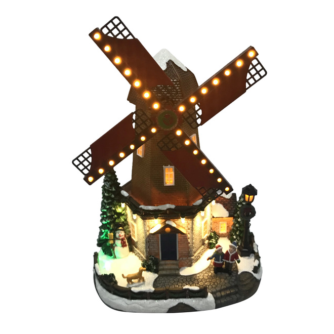 Holiday Living Windmill LED Illuminated Musical and Animated - Resin - 12-in - Multicolour