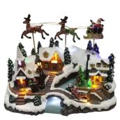 Holiday Living - Holiday Scene LED Illuminated Musical and Animated - Resin - 12.8-in - Multicolour
