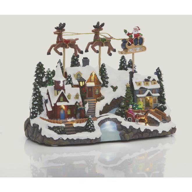 Scène de Noël illuminée DEL, musicale et animée, Holiday Living, résine, 12,8 po, multicolore