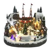 Holiday Living - Village Scene LED Illuminated Musical and Animated - Resin - 15.35-in - Multicolour