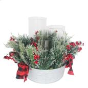 Holiday Living Christmas Floral Centerpiece With Candle Holder - 14-in - Green and Red