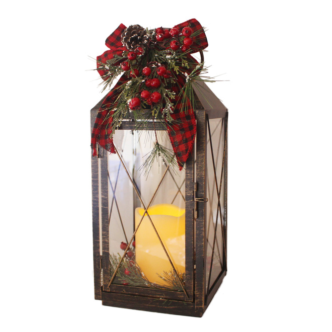 Holiday Living Lantern With Candle - Metal - 19.75-in - Black