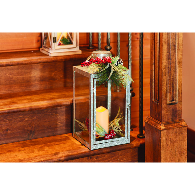 Holiday Living Lantern With Candle - 17-in - Galvanized Metal