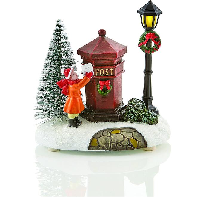 Scène illuminée avec boîte aux lettres Holiday Living, Carole Towne, DEL, multicolore