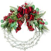 Holiday Living 1-Pack 22-in Indoor Multicolour Artificial Christmas Wreath with Bow