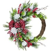 Holiday Living 1-Pack 20-in Indoor Multicolour Artificial Christmas Wreath with Snowflakes