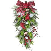 Holiday Living 1-Pack 25-in Indoor Multicolour Artificial Teardrop Wreath