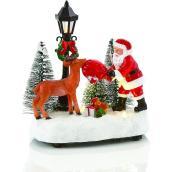 Scène illuminée Holiday Living avec un Père Noël et son renne, Carole Towne, multicolore