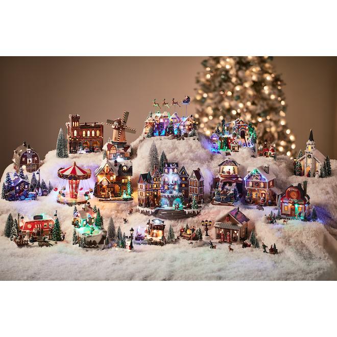 Scène illuminée Holiday Living avec enfant et bonhomme de neige, Carole Towne, multicolore