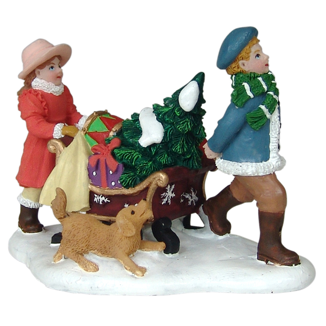 "Polyresin Characters with Sleigh and Dog - 2.9"" x 1.4"" x 2"""