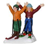 Personnages skieurs en polyrésine, 1,4