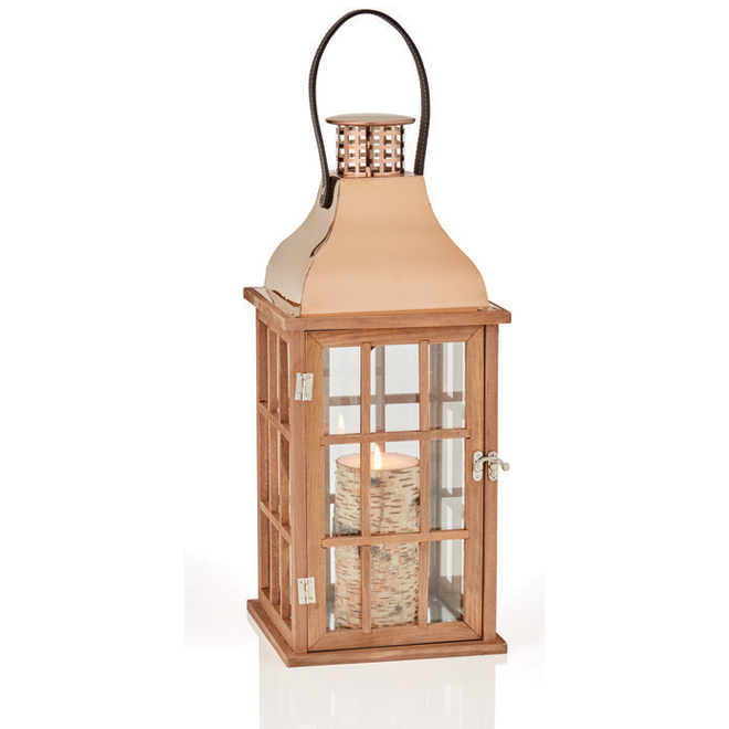 Wood and Metal Lantern - Brown - 17.5''