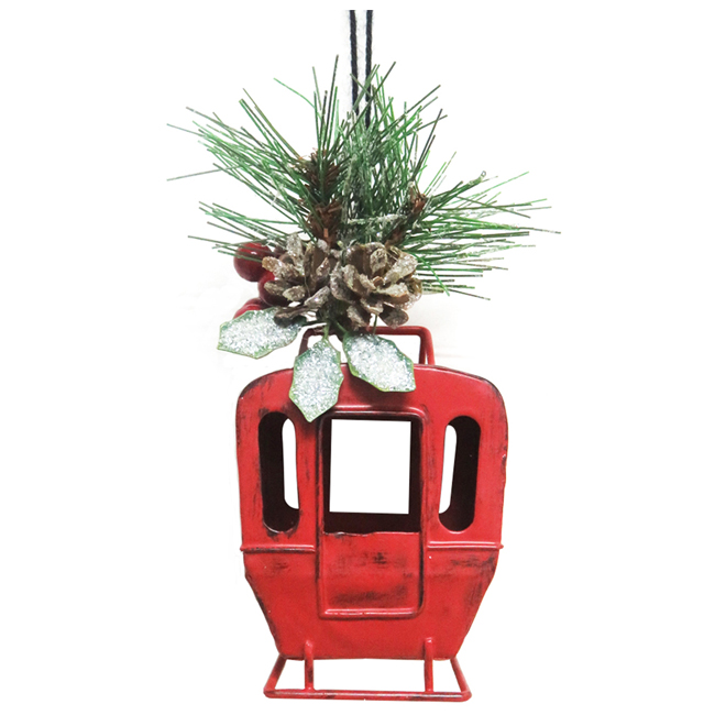 Christmas Tree Decoration - Gondola and Skis - Metal - Red