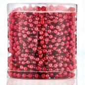 Guirlande de Noël perlée, plastique, 7 mm x 18,3 m, rouge