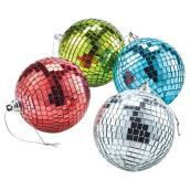 "Christmas Ball Ornaments - Disco - 3.1"" - Multicoloured - 4/PK"