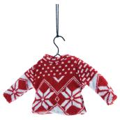 """Tree Ornament - Christmas Sweater - 8 1/2"""" - Red/White"""