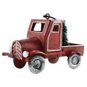 Ornement pour sapin, camion, fer/plastique, rouge