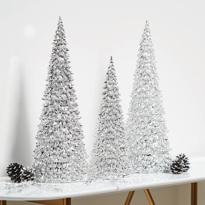 """Lighted LED Christmas Cone Tree - 17"""" - Silver"""