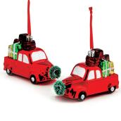 "Tree Ornaments - Truck with Gifts - 3"" - Plastic - Red/Green"
