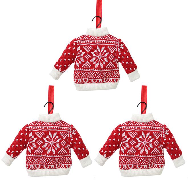 Ornements chandails de Noël, tissu, blanc/rouge, paquet de 3
