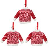 Tree Ornaments - Sweaters - Fabric - White/Red - Set of 3