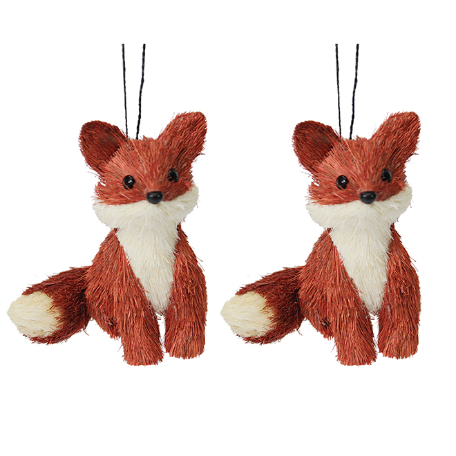 Tree Ornaments - Foxes - Typha - White/Orange - 2-Pack