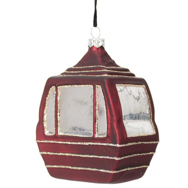 """Ski Gondola Ornament - 4"""" - Glass - Red"""