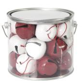 Set of 24 Bell Ornaments - Metal - Red/White
