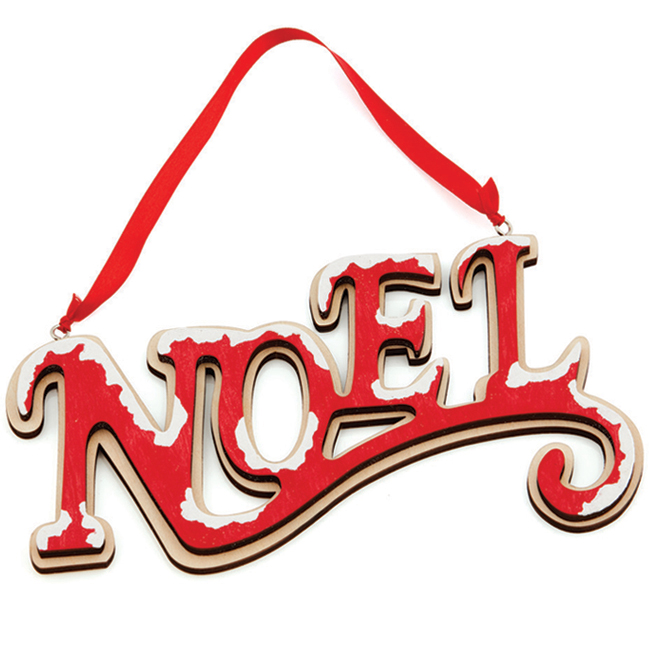 "''NOEL'' Ornament - 4.75"" - Plywood - Red"