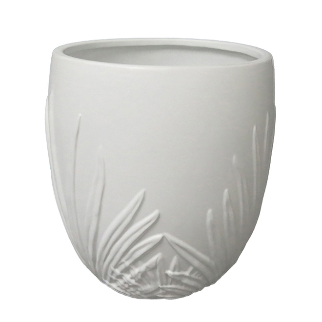 "Allen + Roth Palm leaf Ceramic Planter - 11.35"" - White"