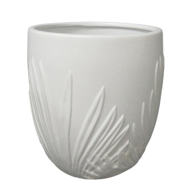 "Allen + Roth Palm Leaf Ceramic Planter - 9"" - White"