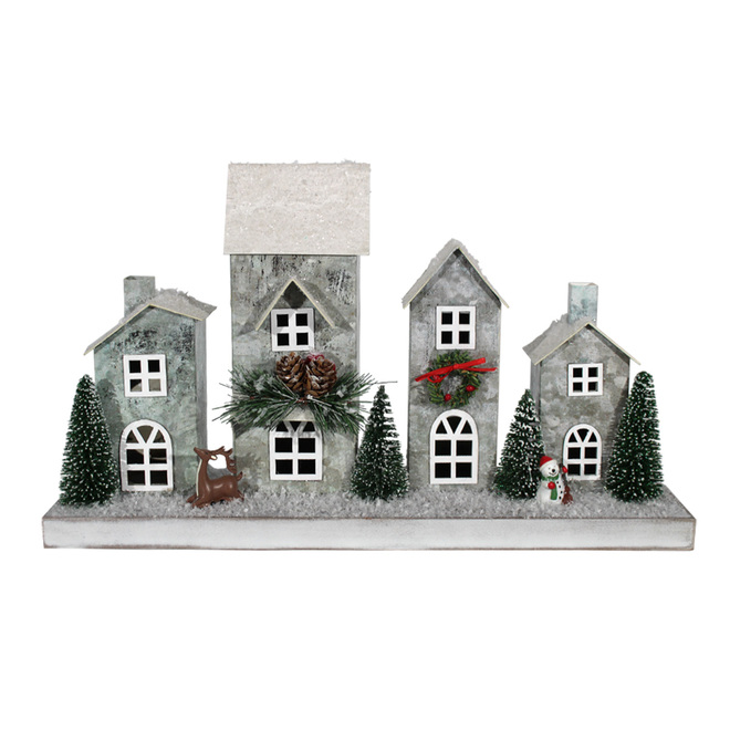 Holiday Living Paper Houses - LED - 16.3-in x 9.5-in x 4.3-in - Silver