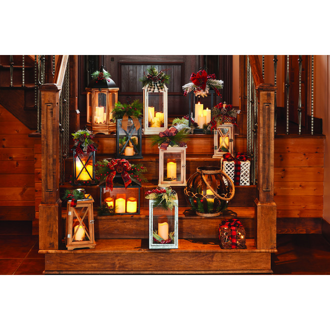Tabletop Lantern with Candle - LED - 18-in - Wood/Plastic - White/Red