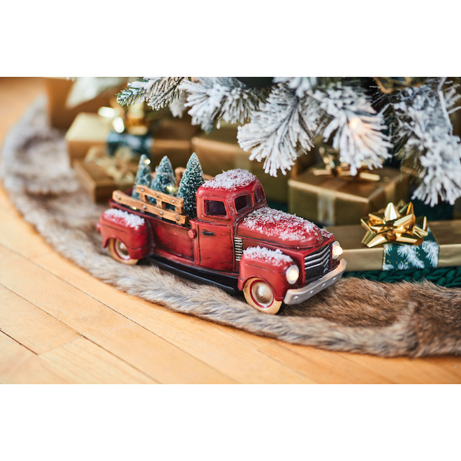 Holiday Living Vintage Truck with Trees - LED - 11.5-in x 5-in - Red