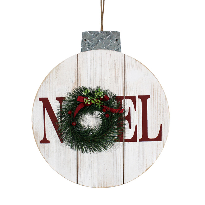 Holiday Living Wall Decoration - Ornament - 14.5-in - Wood/Metal - White/Red