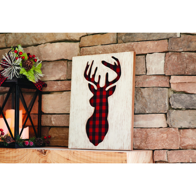 Holiday Living Wall Decoration - Stag Head - Plaid - 16-in x 12-in - MDF/Fabric - Red/Black