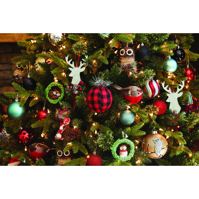 Holiday Living Fox Ornaments - Pinecones - Brown/Red - Set of 2