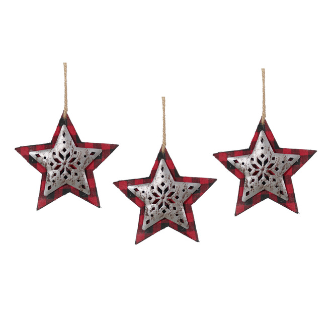 Holiday Living Star Ornaments - 5-in - MDF/Metal/Fabric - Red/Black - Set of 3