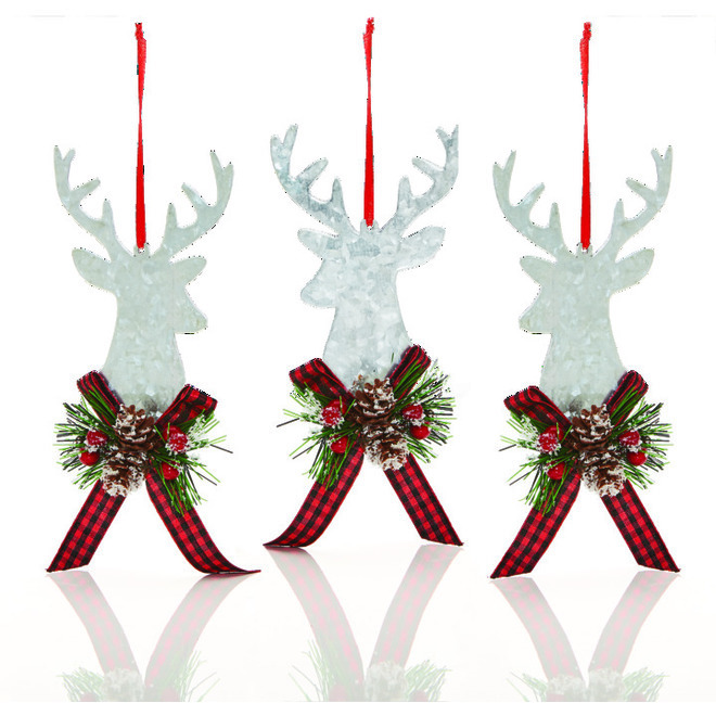 Holiday Living Christmas Tree Ornaments - Stag Head - 6.25-in - Metal - Silver/Red - Set of 6