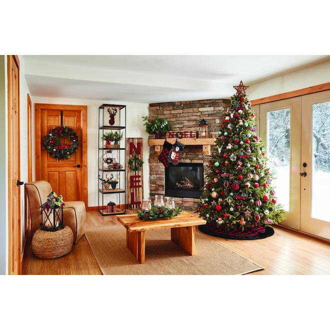 Ornements pour sapin Holiday Living, tête de cerf, 6,25 po, métal, argent/rouge, ensemble de 6