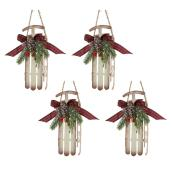 Holiday Living Sled Ornaments - 6.5-in - Metal - White - Set of 4