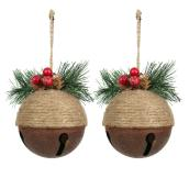 Ornements pour sapin Holiday Living, grelots, 4,25 po, métal/jute, brun, ensemble de 2