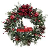 Holiday Living Wreath with Truck - LED - 30-in - PVC/Pinecones - Green/Red