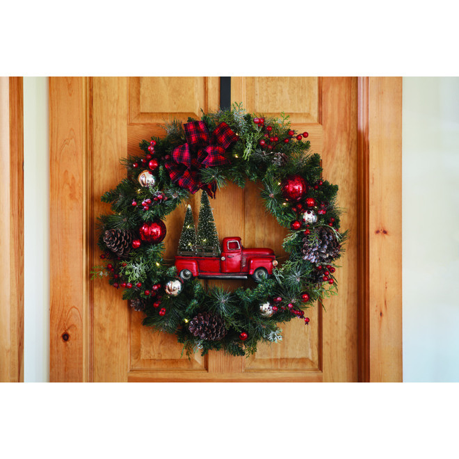 Holiday Living Wreath with Vintage Truck - LED - 30-in - PVC/Pinecones - Green/Red